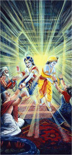 Vasudeva, Devaki, Ugrasena, Krishna and Balarama