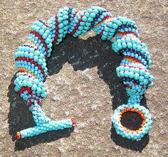Beaded Bracelet Southwestern Colors Spiral by LisaPierceJewelry