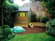 Fun, small, barked play area with a raised playhouse. Small Urban Garden Design, Garden Pond Design, Childrens Play Area Garden, Kids Play Area, Backyard Play, Backyard For Kids, Backyard Ideas, Garden Playhouse, Playhouse Ideas