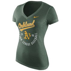 Women's Oakland Athletics Nike Green Logo Graphic Tri-Blend V-Neck T-Shirt