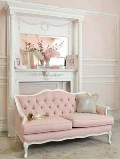 French sofa with pale pink velvet & white trim
