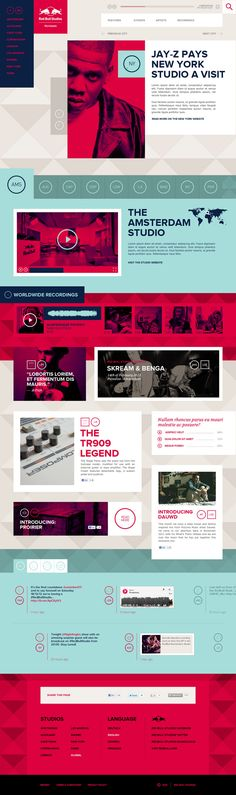 Red Bull Studios by Momkai - Web Design - Graphisme - Jay z Modern Web Design, Web Ui Design, Best Web Design, Graphic Design, Web Layout, Layout Design, Red Bull, Branding, Website Design Inspiration