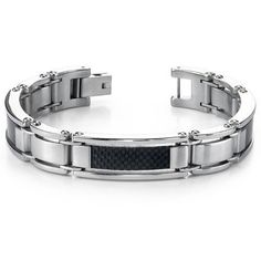 Men's Stainless Steel and Carbon Fiber Watch Link Bracelet