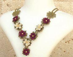 Turkish OYA Lace - Silk Necklace -Plumeria Burgandy  Crocheted Jewelry Wedding Bib Flowers Accessories Dresses Jewelry