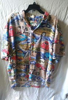 Vtg Paradise Found Route 66 Classic Cars Corvette Print Hawaiian Shirt Size XL #ParadiseFoundShirt #HawaiianShirtsSizeXL