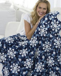 Best Free Crochet » Free Crochet Pattern Dusty Snowflake Throw From RedHeart.com