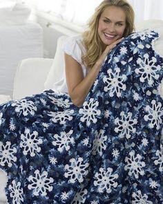 Best Free Crochet » Free Crochet Pattern Dusty Snowflake Throw From RedHeart.com
