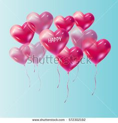Hearts balloons. Flying hearts balloons to the sky, balloons isolated on blue sky background. Transparent effect. Vector illustration.