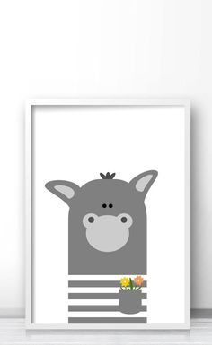 Donkey illustration, Farm animal nursery art, Kids wall art print, Printable animal art for nursery and kids room decor by Limitation Free