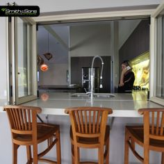 Bi-fold windows are a great way to connect the kitchen with the outdoor entertainment area! Diy Kids Kitchen, Kitchen Redo, Kitchen Ideas, Indoor Outdoor, Outdoor Living, Industrial Tv Stand, Entertainment Center Decor, New Homes, Tiny Homes