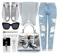 """Metallic"" by monmondefou ❤ liked on Polyvore featuring Topshop, adidas, Maison Margiela, Shiseido, metallic and gray"
