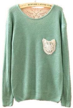 lace? check. mint green? check. cozy sweater? check. MINE