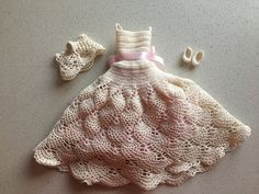 Barbie long gown, crochet Barbie clothes, Barbie doll party dress,Barbie prom, wedding dress by LittleFlowerbyGloria on Etsy