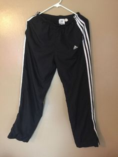 Adidas Womens Track Pants Size Large Black White Stripes Wind Breaker Workout M #adidas #TracksuitsSweats