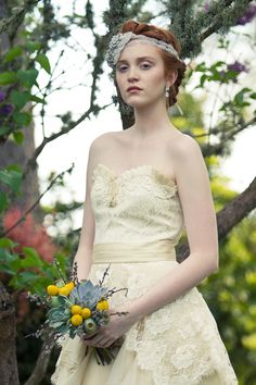 Gray and yellow bouquet   Travis Geny Photography   vintage lace dress bouquet  http://sophisticatedfloral.com/