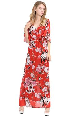 Apricus Women's Plus Size Chiffon Floral Animal Print Maxi Prom Dress * You can get more details here : Plus size dresses