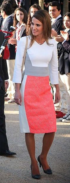 """Queen Rania of Jordan. Modest Fashion doesn't mean frumpy! Fashion Tips (and a free eBook) here: http://eepurl.com/4jcGX Do your clothing choices, manners, and poise portray the image you want to send? """"Dress how you wish to be dealt with!"""" (E. Jean) http://www.colleenhammond.com/"""