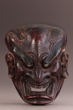 Mask for Noh performance Muromachi period Wood with paint and gilt metal H: W: D: cm Japan Ikebana, Japanese Demon Mask, Muromachi Period, Noh Theatre, Art Japonais, Art History, Cool Art, Sculptures, Skull
