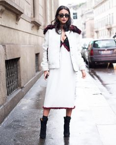 #ChiaraBiasi Chiara Biasi: outside @trussardinews #fashionshow 9️⃣0️⃣ #mfw #milan |  @camillafortunato | hair & make-up by @giuliopanciera @lorealpro @lorealproit | sunnies @rayban - total look @aujourlejour_official - shoes @isabelmarant |