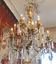 French Baccarat  Gilt Bronze 18 Light Chandelier