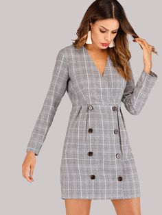 To find out about the Double Breasted Glen Plaid Dress at SHEIN, part of our latest Dresses ready to shop online today! Plaid Dress, Dress P, Shirt Dress, Tuxedo Dress, Glen Plaid, Latest Dress, Double Breasted, Womens Fashion, Sexy