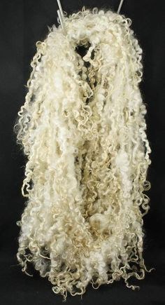 Handspun art yarn White long Teeswater locks by WoolShepherdess, €44.80