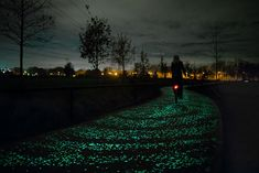 Glowing Solar Powered BikePath is easy on the eyes and on the planet!