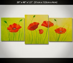 Large 48 Acrylic Painting RED POPPIES Painting by ReginaArt
