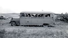 School bus loaded with children to help in harvesting crops, Wasco County, ca. 1943   by OSU Special Collections & Archives : Commons