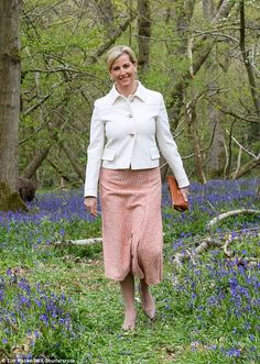 Sophie, Countess of Wessex was forced to walk through grassy woodland in stiletto heels...