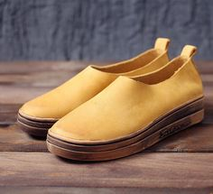 Handmade Leather Platform Shoes for Women, Casual Shoes, Soft Shoes,Slip…