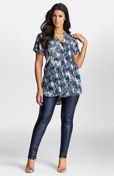 Mynt 1792 Short Sleeve Print Tunic (Plus Size) available at #Nordstrom