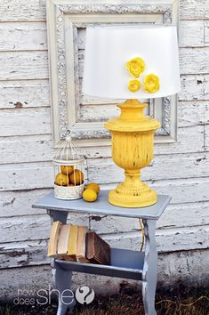This will be my next yard sale find project------paint an old lamp and then embellish a white shade. also painted an old magazine rack. this is from the fancy farmgirls who transform garage sale items. Shabby, Furniture Makeover, Diy Furniture, Lamp Makeover, Yard Sale Finds, Do It Yourself Furniture, Painting Lamps, Old Lamps, Old Magazines