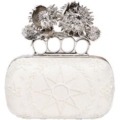 ALEXANDER MCQUEEN Embroidered Satin Knuckle Box Clutch ($2,795) ❤ liked on Polyvore featuring bags, handbags, clutches, alexander mcqueen, purses, borse, white, satin clutches, white hand bags and alexander mcqueen clutches