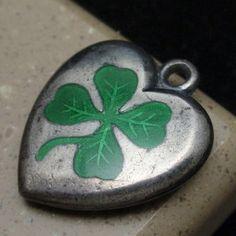 Puffy Heart Charm Vintage Sterling Silver Enamel Lucky 4 Leaf Clover Engrave JZC | eBay