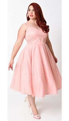 Unique Vintage Plus Size 1950s Peach & White Dot High Society Swing Dress