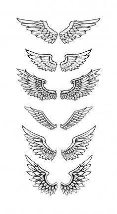 Illustration Of Wings Collection Set Hand Tattoos, Bird Hand Tattoo, Body Art Tattoos, Small Tattoos, Sleeve Tattoos, Tatoos, Wing Neck Tattoo, Neck Tattoo For Guys, Tattoos For Guys