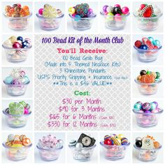 100 Bead Kit of the Month Club  6 Month by BebeBeadsShop on Etsy