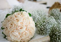 white roses bridal bouquet.  2015 wedding trends. babys breath bridesmaid flowers.   Carli + Nick | Cancun, Mexico | Destination Wedding Photographer
