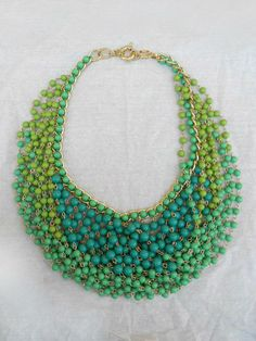 Sweet Meadow Statement Necklace | Beautiful strands of layered beads in various shades of green <3