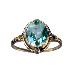 1930-40s Art Deco Aqua Glass Ring, 10K Yellow and White Gold : Erie... (€290) ❤ liked on Polyvore featuring jewelry, rings, accessories, yellow gold rings, glass jewelry, art deco gold rings, art deco ring and gold rings