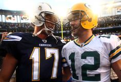 Love this picture. Quarterback Aaron Rodgers #12 of the Green Bay Packers and Philips Rivers #17 of the San Diego Chargers greet each other on the field at the end of the game on November 6, 2011 at Qualcomm Stadium in San Diego, California.
