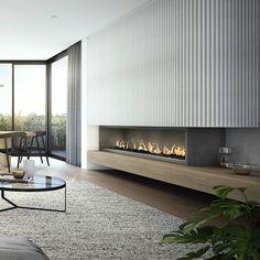 Modern Fireplace Design Ideas Perfect For This Winter Fireplace Feature Wall, Fireplace Tv Wall, Modern Fireplace, Living Room With Fireplace, Home Living Room, Home Room Design, Living Room Designs, House Design, Modern Interior Design