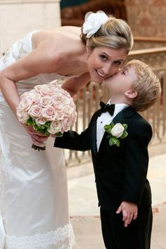 Pink roses and an adorable little ring bearer