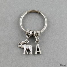SRA V562 Initial Moose Keychain  Moose Key by SweetRideAccessories
