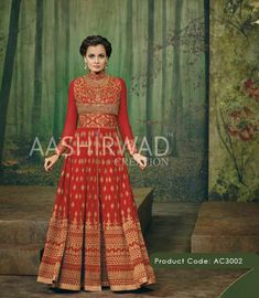 Indulge yourself in this elegant red #anarakli dress this wedding season !
