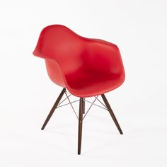 DAW Molded Plastic Armchair - Walnut and Chrome Base - Red  http://www.franceandson.com/mid-century-modern-daw-molded-plastic-armchair-walnut-and-chrome-base-red.html