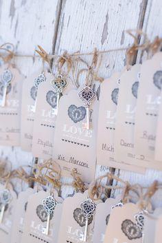 Barrington Hill Farm Wedding Key escort cards on barn door Sarah & Ben Photography