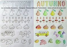 Jobs with children: the frames of autumn- Lavoretti con i bambini: le cornicette dell'autunno Jobs with children: the autumn frames Trend ideas - Graph Paper Drawings, Graph Paper Art, Drawing For Kids, Art For Kids, School Border, Blackwork Embroidery, Graphic Quotes, Machine Quilting, Vintage Books