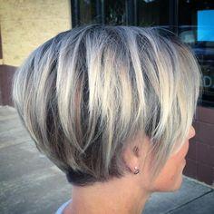 "Melissa J on Instagram: ""#hairwithmel #avedasilver #avedacolor #silverhair #silverombre #greyhair #greyombre #hair #shorthair #bluegreyhair #shorthairombre…"""